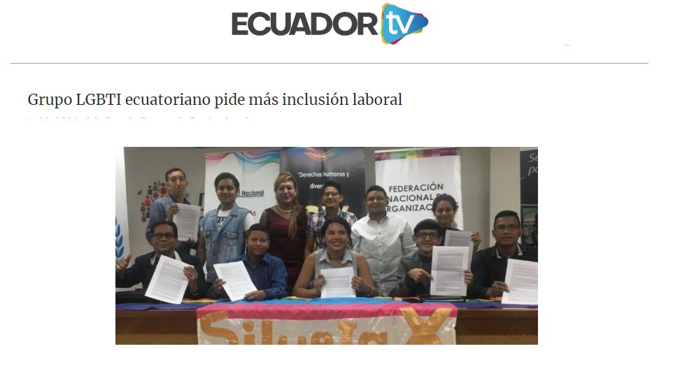 Grupo LGBTI ecuatoriano pide más inclusión laboral-Federacion Ecuatoriana LGBTI-Plataforma Revolucion Trans-Transmasculinos Ecuador-Asociacion Silueta X-Camara de Comercio LGBT de Ecuador.png