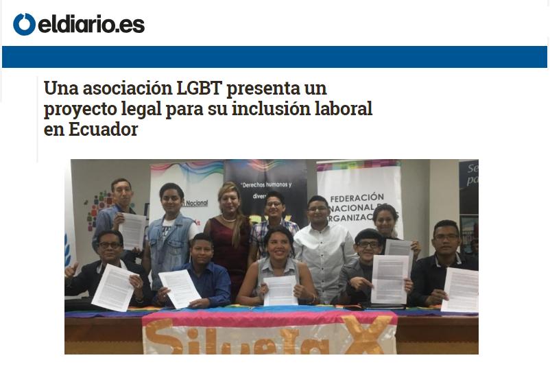 Una asociación LGBT presenta un proyecto legal para su inclusión laboral en Ecuador-Federacion Ecuatoriana LGBTI-Plataforma Revolucion Trans-Transmasculinos Ecuador-Asociacion Silueta