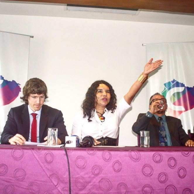 Camara LGBT del Ecuador rueda de prensa sobre lanzamiento - CEO Diane Rodriguez (1)