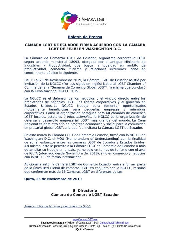 Boletín de Prensa - CÁMARA LGBT DE ECUADOR FIRMA ACUERDO CON LA CÁMARA LGBT DE EE.UU EN WASHIGNTON D.C-1