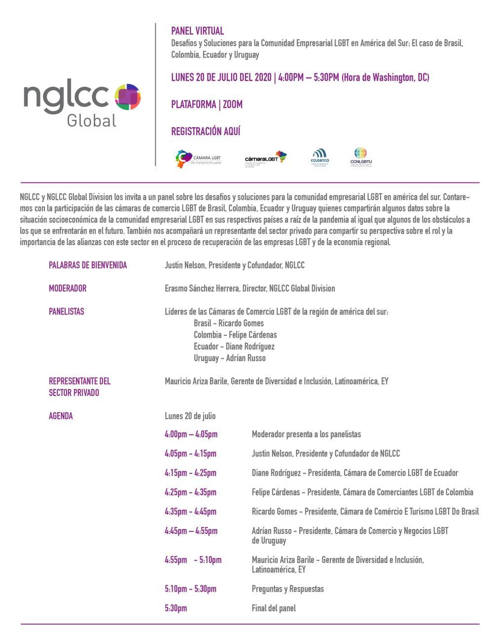 Panel Virtual - Desafíos y Soluciones para la Comunidad Empresarial LGBT en América del Sur El caso de Brasil, Ecuador, Colombia - NGLCC - Camara LGBT Comercio Ecuador CCLGBTEC